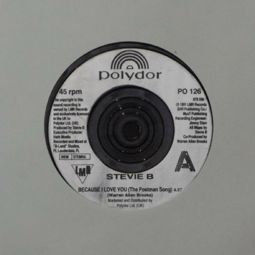 "Stevie B<br>Because I Love You (The Postman Song)<br>7"" single"