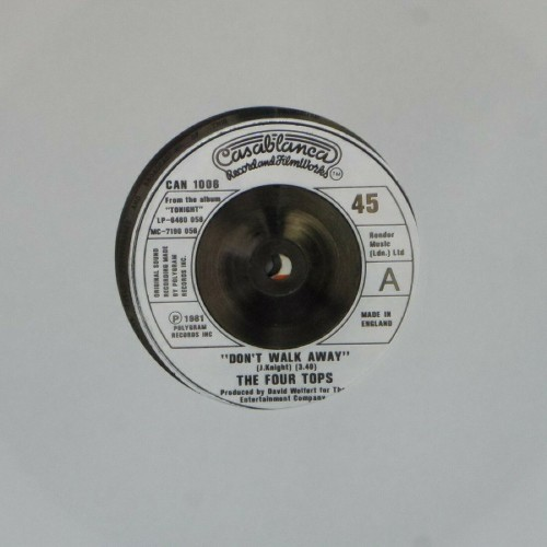 "The Four Tops<br>Don't Walk Away<br>7"" single"