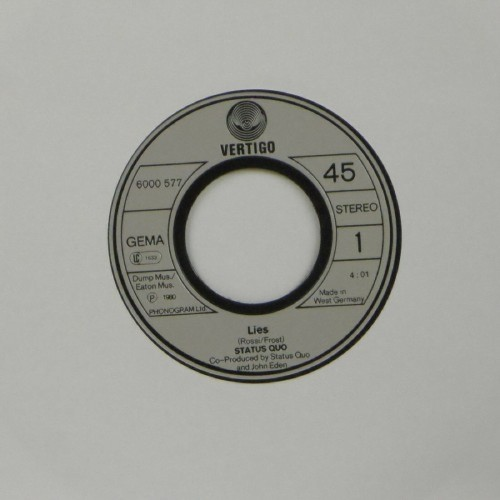 "Status Quo<br>Lies<br>7"" single"