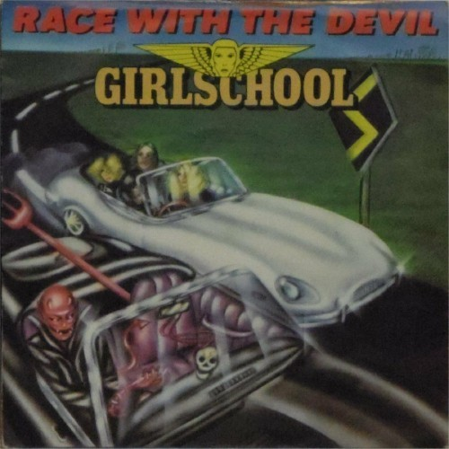"Girlschool<br>Race With The Devil<br>7"" single"