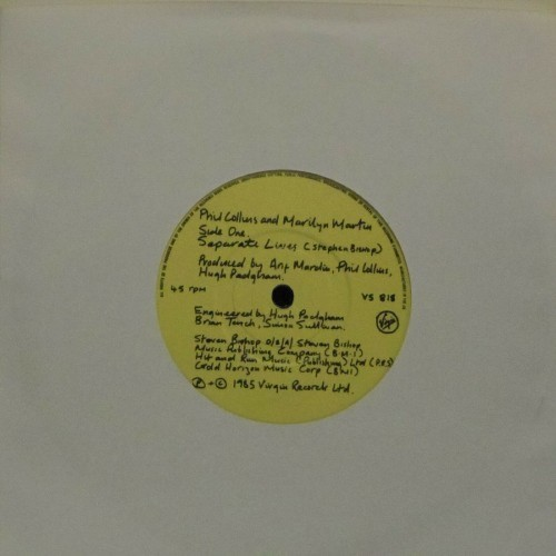 "Phil Collins<br>Separate Lives (With Marilyn Martin)<br>7"" single"
