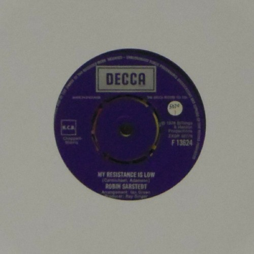 "Robin Sarstedt<br>My Resistance Is Low<br>7"" single"