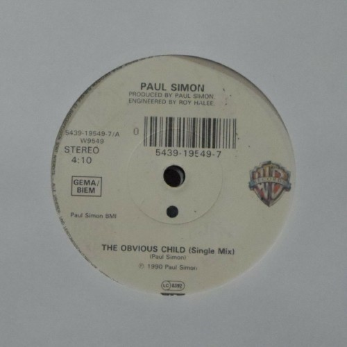 "Paul Simon<br>The Obvious Child<br>7"" single"