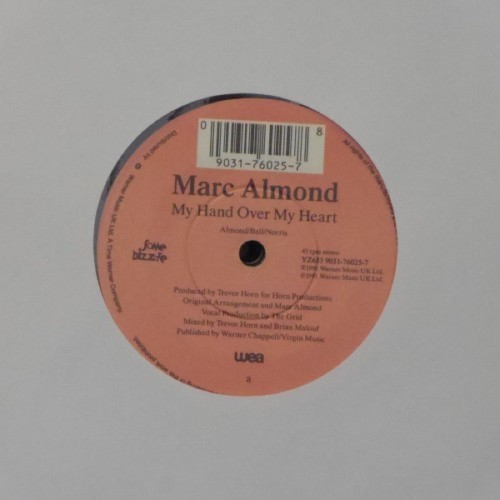 "Marc Almond<br>My Hand Over My Heart<br>7"" single"