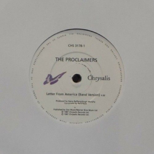 "The Proclaimers<br>Letter From America (Band Version)<br>7"" single"