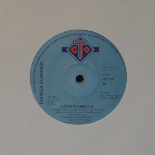 "Donna Summer<br>Love's Unkind<br>7"" single"