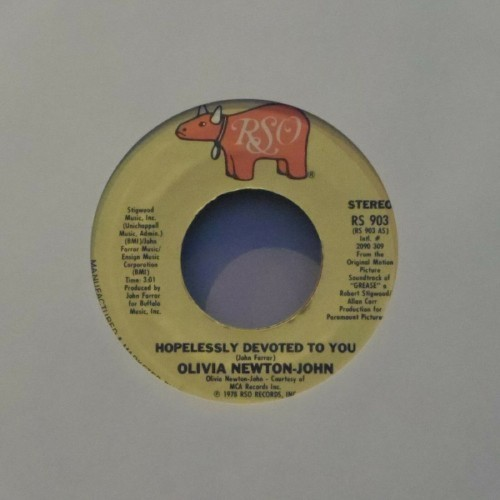 "Olivia Newton-John<br>Hopelessly Devoted To You<br>7"" single"