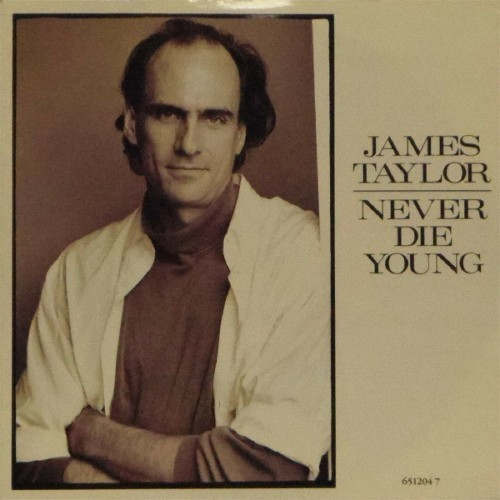 "James Taylor<br>Never Die Young<br>7"" single"